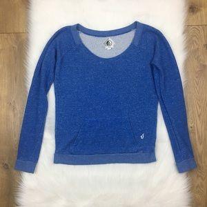 Volcom Blue Scoopneck Pullover Pocket Sweatshirt